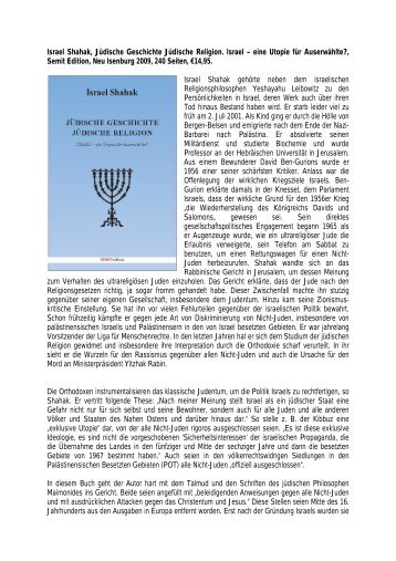 Israel Shahak, Jüdische Geschichte Jüdische ... - Ludwig Watzal