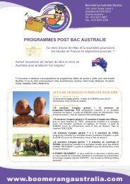 PROGRAMMES POST BAC AUSTRALIE - Boomerang Australia