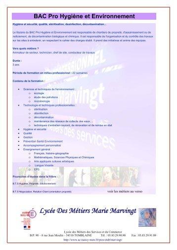 Bac Pro Hygiène et Environnement