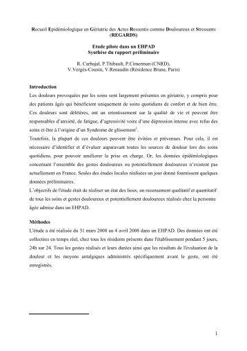 1 Recueil Epidémiologique en Gériatrie des Actes ... - CNRD