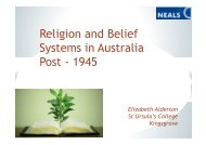 Religion and Belief Systems in Australia Post 1945 (Presentation)