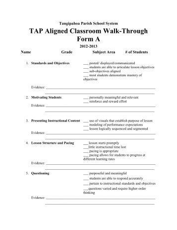 TPSS TAP Aligned Classroom Walkthrough Form B 2012-2013