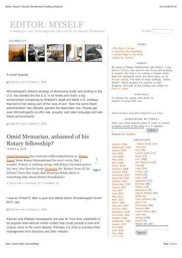 Editor: Myself   Hossein Derakhshan's weblog (English) - Iran Resist