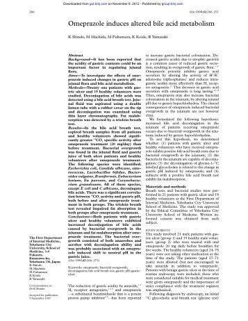 Omeprazole induces altered bile acid metabolism - Gut - BMJ