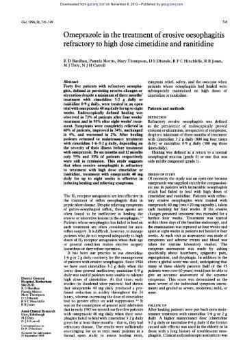 Omeprazole in the treatment of erosive oesophagitis - Gut