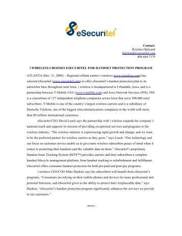 i wireless Chooses eSecuritel for Handset Protection Program