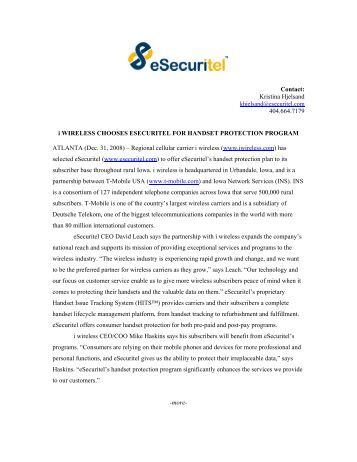 i wireless Chooses eSecuritel for Handset Protection Program