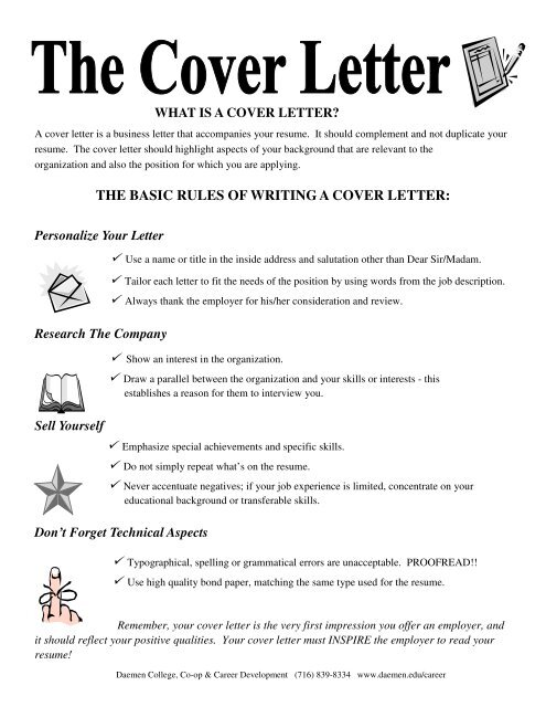 the basic rules of writing a cover letter - Daemen College