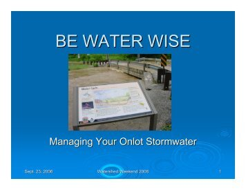 BE WATER WISE - York County Conservation District