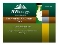 Travis Johnson, NV Energy - Utility Variable Generation Integration ...