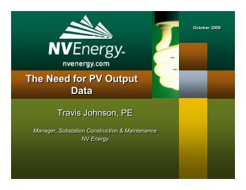 Travis Johnson, NV Energy - Utility Variable Generation Integration ...