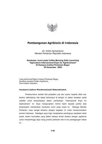 Pembangunan Agribisnis di Indonesia - Pusat Sosial Ekonomi dan ...
