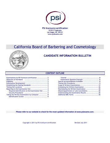 California Board of Barbering and Cosmetology - PSI