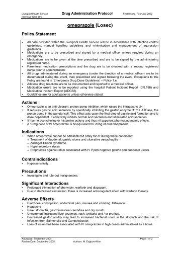 omeprazole - Intensive Care & Coordination Monitoring Unit