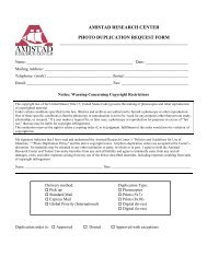 Photo Duplication Request Form - The Amistad Research Center