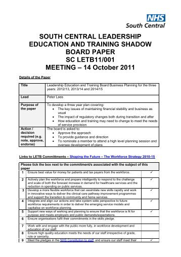 LETB Shadow Board Paper, 3 Year Business Plan - Workforce and ...