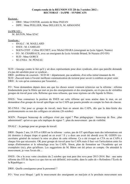 Ia Ipr Syndicats Rectorat Lettre D Informations Se Unsa