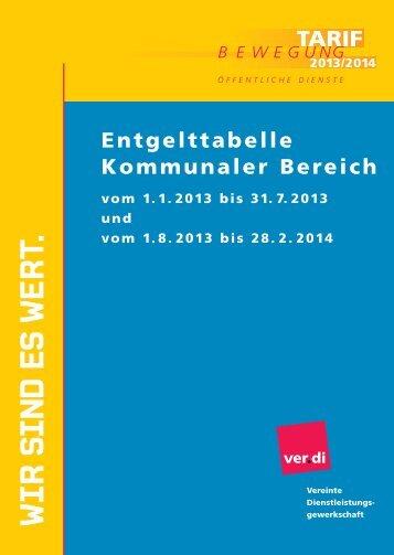 TVÖD Tabelle Gemeinden - Ver.di