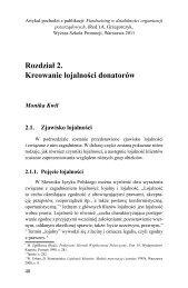 Rozdział 2. Kreowanie lojalności donatorów - Wyższa Szkoła Promocji