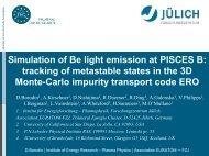 D Borodin : Simulation of Be light emission at PISCES B - ADAS