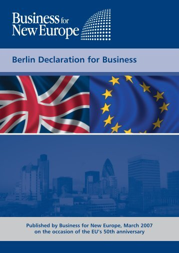 Berlin Declaration for Business - Business for New Europe
