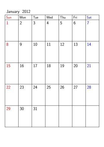 January 2012 1 2 3 4 5 6 7 8 9 10 11 12 13 14 15 16 17 18 19 20 21 ...