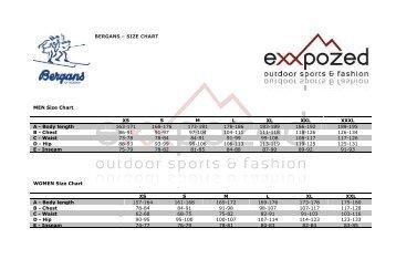 BERGANS – SIZE CHART MEN Size Chart WOMEN Size Chart XS ...