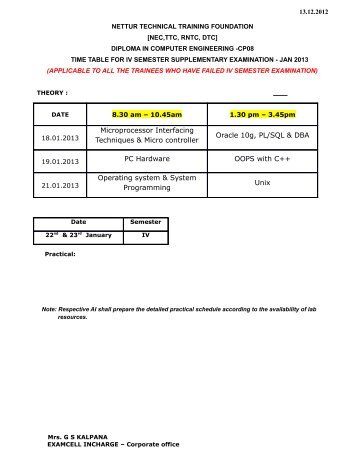 cp08 iv & vi semester supplementary 2013 - NTTF