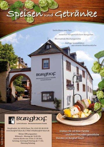 Speisen und Getränke - Burghof-Daun