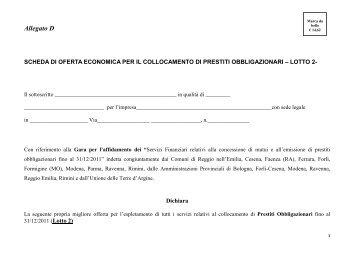 Scheda Offerta economica Lotto 2 - Obbligazioni.pdf - Comune di ...