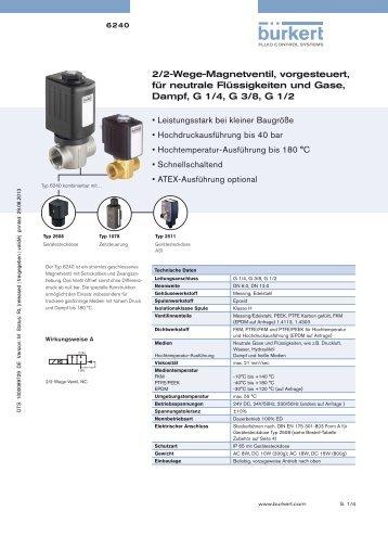 2/2-Wege-Magnetventil, vorgesteuert, für neutrale Flüssigkeiten und ...