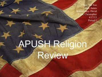 APUSH Religion Review - Fairfax Senior High School