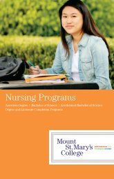 Nursing Programs - Mount St. Mary's College