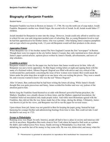 Biography of Benjamin Franklin - EDSITEment