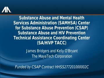 substance abuse and hiv prevention technical assistance ...