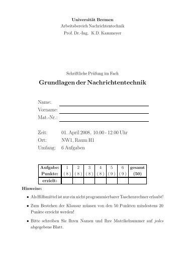 Grundlagen der Nachrichtentechnik - Universität Bremen