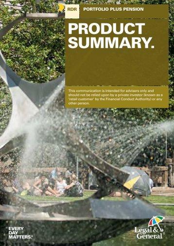 Portfolio Plus Pension Product Summary Post RDR - Legal & General