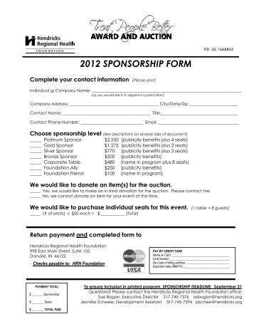 Sponsorship Form  Golf Sponsorship Form  Walker College Of