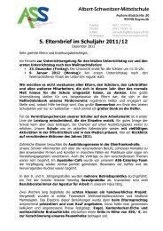 5. Elternbrief im Schuljahr 2011/12 - Albert-Schweitzer-Schule