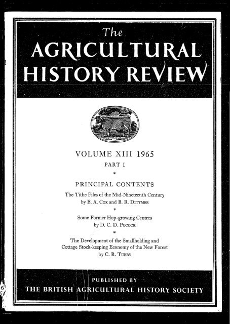 VOLUME XIII 1965 British Agricultural History Society