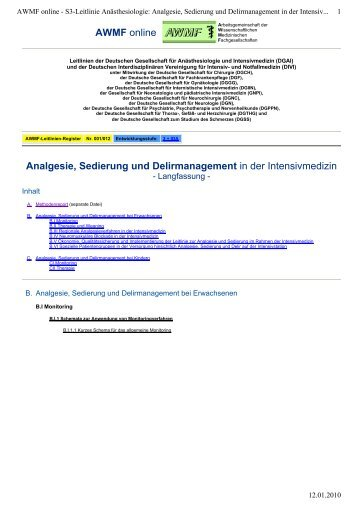 Analgesie, Sedierung und Delirmanagement in der ... - Amazon S3