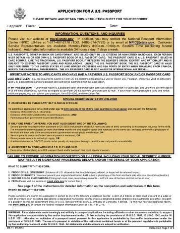"""First Time Passport Application"""", (DS-11) - NOAA"""
