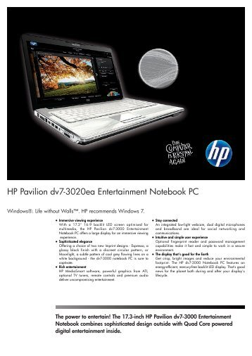 PSG Consumer 3C09 HP Notebook Datasheet - Box.co.uk
