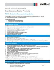 Manufacturing Textile Products - Skillset