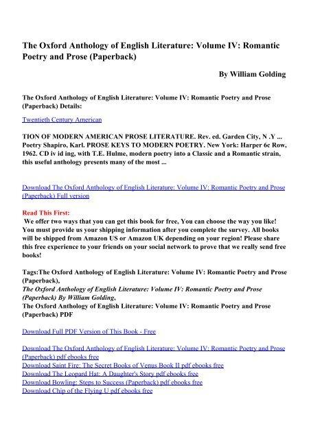 English Poetry Pdf