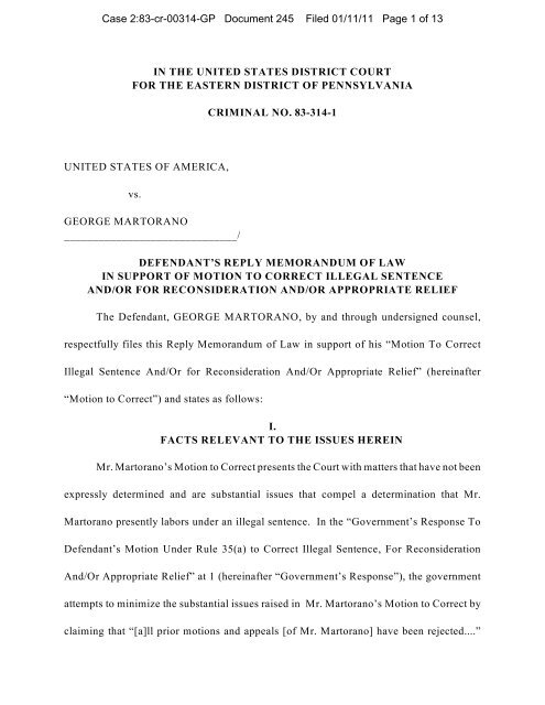 Reply Memorandum of Law in Support of Motion to Correct