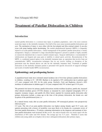 Treatment of Patellar Dislocation in Children