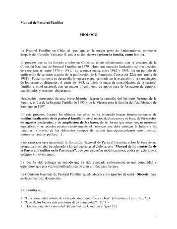Manual de Pastoral Familiar PROLOGO La Pastoral Familiar en ...