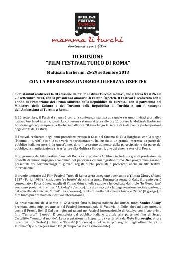 """III EDIZIONE """"FILM FESTIVAL TURCO DI ROMA"""" - Ufficio Turismo ..."""