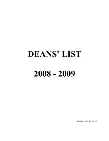 DEANS' LIST 2008 - 2009